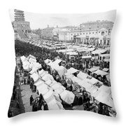 Moscow Russia - The Great Sunday Market - C 1898 Throw Pillow