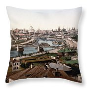 Moscow Russia On The Moskva River - Ca 1900 Throw Pillow