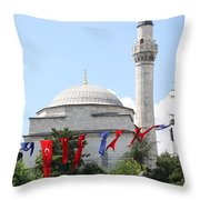 Mosque And Flags Throw Pillow