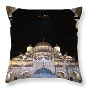 Mosque Yeni Camii At Night Throw Pillow