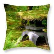 Mossy Japanese Garden Lantern Throw Pillow