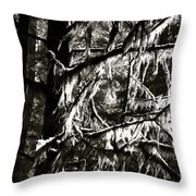 Mossy Trees In Black And White 2 Throw Pillow