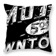 Motel Sign Black And White Throw Pillow