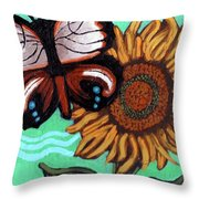 Moth And Sunflower Throw Pillow