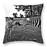 Mother And Child-black And White Throw Pillow