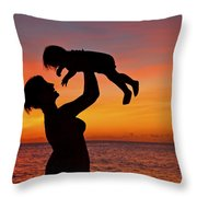 Mother And Child Sunset Silhouette Throw Pillow