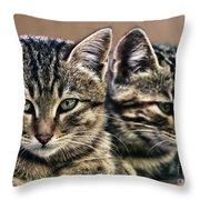 Mother And Child Wild Cats Throw Pillow