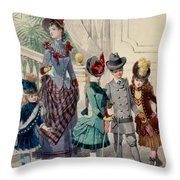 Mother And Children In Indoor Costume Throw Pillow