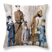 Mother And Children In Walking Dress  Throw Pillow