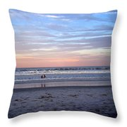Mother And Daughter Beach Time Throw Pillow