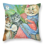 Mother Cat With Fan And Two Kittens Throw Pillow