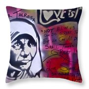 Mother Theresa Living Simply Throw Pillow