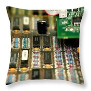 Motherboard Throw Pillow by Henrik Lehnerer