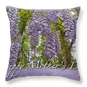 Mother's Day Card - Purple Wisteria Throw Pillow
