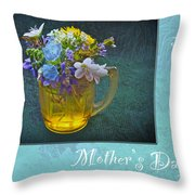Mother's Day Card - Tiny Wildflower Bouquet Throw Pillow