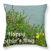 Mother's Day - Wildflowers By The Pond Throw Pillow