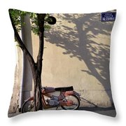 Motorcycle And Tree. Belgrade. Serbia Throw Pillow