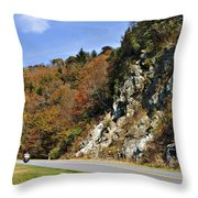 Motorcycle On The Highway Throw Pillow