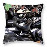 Motorcycles - Harleys And Hondas Throw Pillow