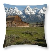 Moulton Barn - Grand Tetons Throw Pillow