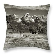 Moulton Barn And The Grand Tetons Throw Pillow