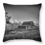 Moulton Barn Bw Throw Pillow