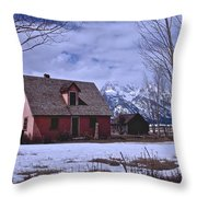 Moulton's Pink House On Mormon Row Throw Pillow