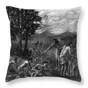 Mound Builders: Farming Throw Pillow
