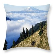 Mount Adams Above Cloud-filled Valley Throw Pillow