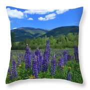 Mount Adams And Lupine Field Throw Pillow