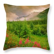 Mount Amery And Fireweed Throw Pillow