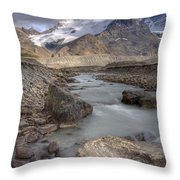 Mount Athabasca At Sunset Jasper Throw Pillow