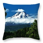 Mount Hood Framed By Trees, Oregon, Usa Throw Pillow