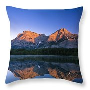Mount Kidd Reflected In Wedge Pond Throw Pillow