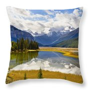 Mount Kitchener Reflected In Pond Throw Pillow by Yves Marcoux