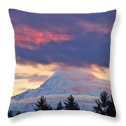 Mount Rainier Shrouded In Clouds Throw Pillow