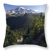Mount Rainier Surrounded By Forest Throw Pillow
