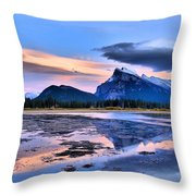 Mount Rundle In The Evening Throw Pillow