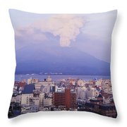Mount Sakurajima Erupting In Front Of Throw Pillow