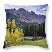 Mount Sneffels And Fence Throw Pillow