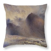 Mount Snowdon Through Clearing Clouds Throw Pillow