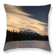 Mountain And Frozen Lake Kananaskis Throw Pillow