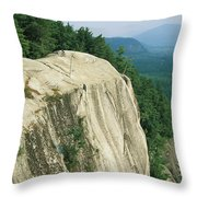 Mountain Biker On Edge Of Cliff Throw Pillow