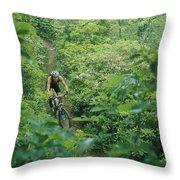 Mountain Biker On Single Track Trail Throw Pillow