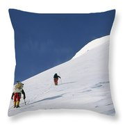 Mountain Climbers Use Safety Ropes Throw Pillow