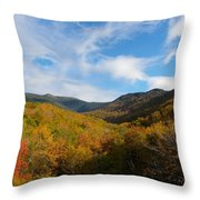Mountain Foliage And Blue Skies Throw Pillow