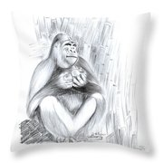 Mountain Gorilla 02 Throw Pillow