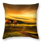 Mountain Horses Throw Pillow