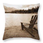 Mountain Lake View Throw Pillow