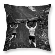 Mountain Lunges Throw Pillow